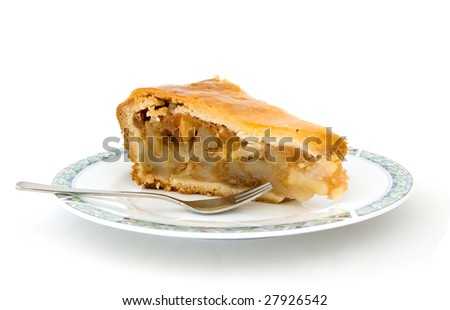 A piece of apple pie on a white background - stock photo