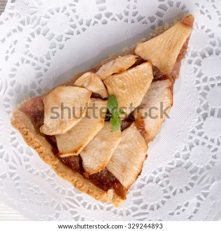 A piece of apple pie. Top view.  - stock photo