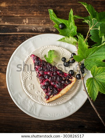 A piece of fresh homemade pie with black currants on a white ceramic plate with a sprig of fresh currant with clusters of berries on a wooden dark background. selective Focus - stock photo