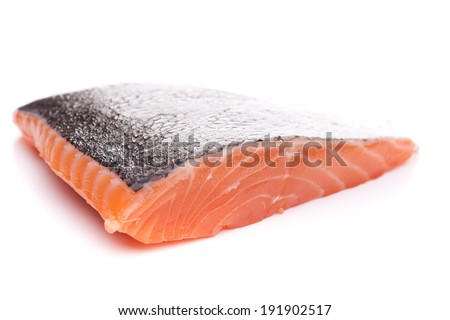 A piece of salmon isolated on white background - stock photo