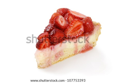 A piece of strawberry cheesecake - stock photo