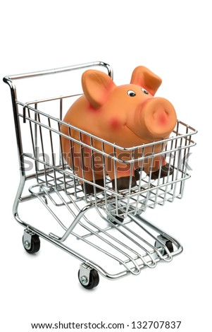 a piggy bank in a shopping cart photo icon for shopping, inflation and the economy - stock photo
