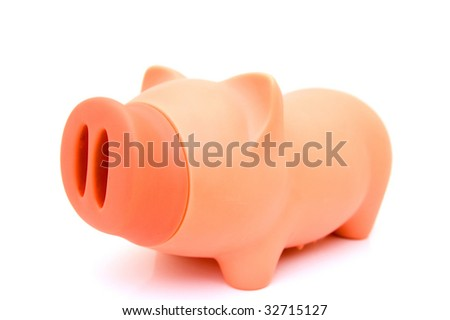 A piggy bank on a white background - stock photo