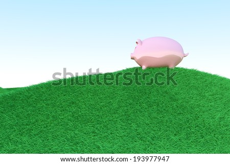 A piggy bank on green hills. Symbol for eco friendly economy. 3D rendered illustration. - stock photo