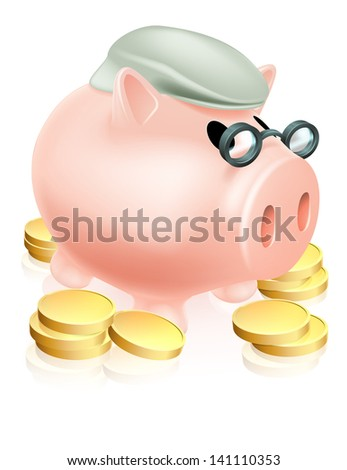 A piggy bank with old man's cap or hat and glasses surrounded by coins. Pension savings fund or plan concept. - stock photo