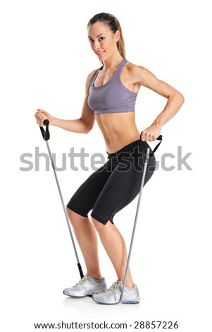 A pilates instructor with exercise bands isolated on a white background - stock photo