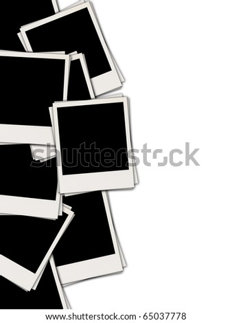 A pile of blank photos on a white background - stock photo