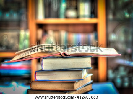 A pile of books in a little library - stock photo
