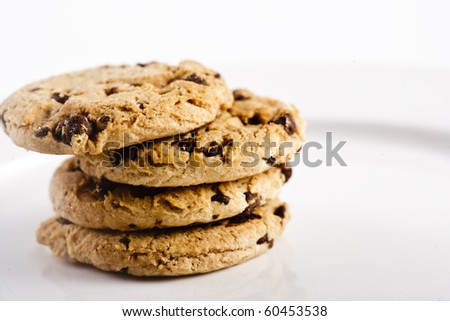 A pile of Chocolate Chip Cookies - stock photo