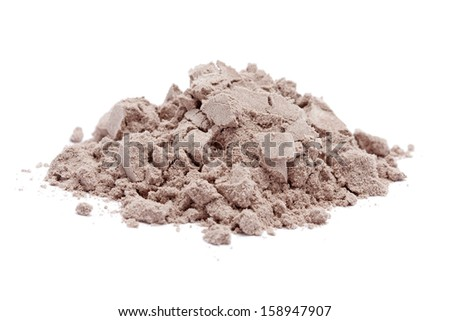 a pile of chocolate protein powder on white background.  - stock photo