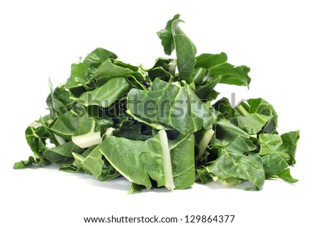 a pile of chopped raw chards on a white background - stock photo