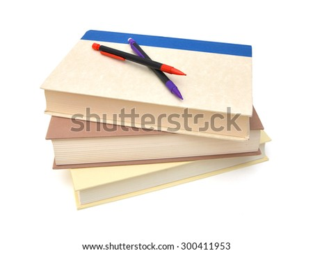 A pile of class books or back to school  - stock photo