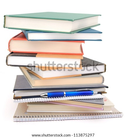 A pile of course books on exam - stock photo