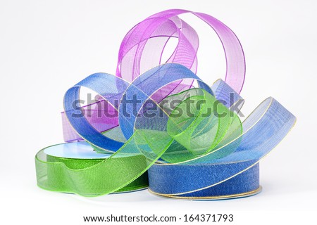 A pile of decorative plastic ribbons - stock photo