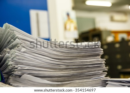 A pile of documents Desk - stock photo