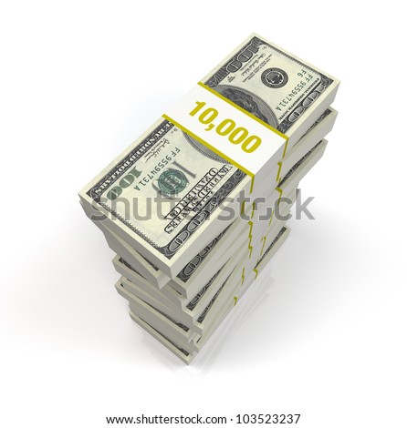 A pile of 100 dollar bills on a white reflective background - stock photo
