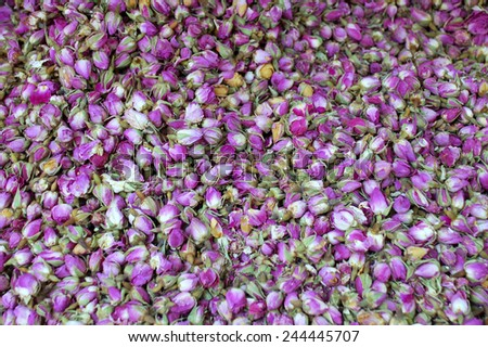 A pile of Dry Roses Herbs at the Market - stock photo