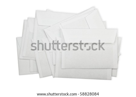 A pile of envelopes on a white background - stock photo