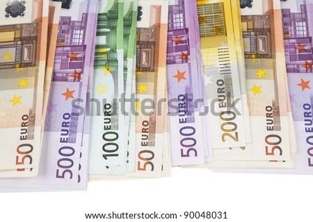 A pile of European Union banknotes - stock photo