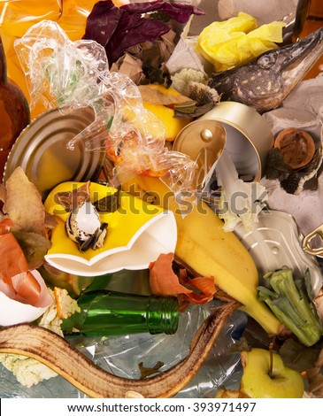 A pile of food and household waste closeup. Texture. - stock photo