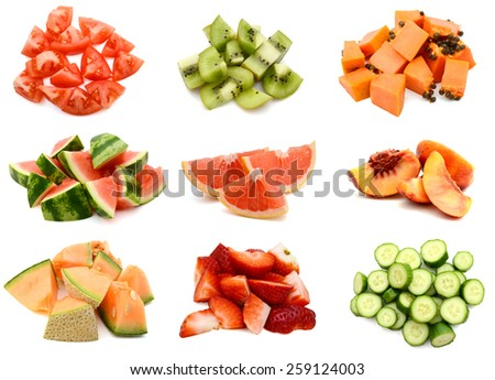 A pile of fruit slices collage - stock photo
