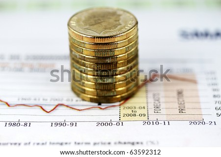 A pile of gold coins on a on a forecast chart way into the future showing mineral investments will rise and rise - stock photo