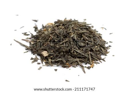 a pile of green tea on white background - stock photo