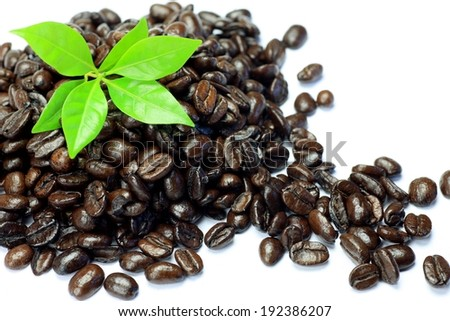 A pile of many brown coffee beans and green leaves. - stock photo