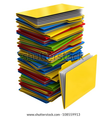 a pile of multi-colored folders with important information - stock photo