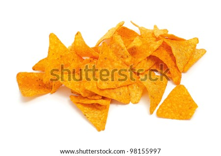 a pile of nachos on a white background - stock photo