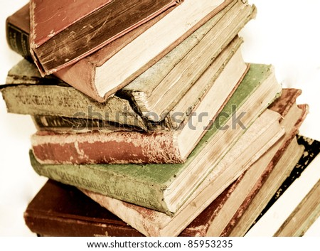 a pile of old books - stock photo