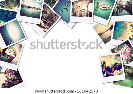 A pile of photographs with space for your logo or text. - stock photo