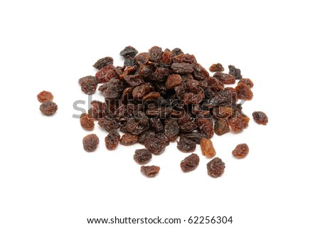 A pile of raisins isolated on a white background - stock photo