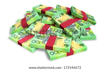 A pile of randomly scattered wads of australian dollar banknotes on an isolated background - stock photo