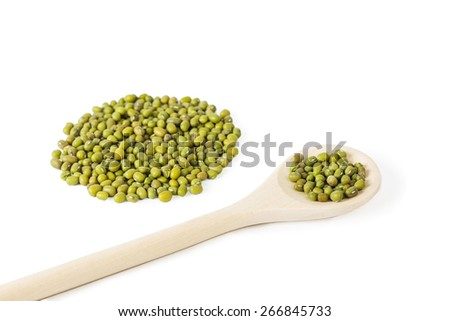 a pile of Raw mung beans Vigna radiata, and mung beans in wooden spoon isolated on white background - stock photo