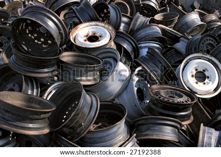 A pile of rims - stock photo