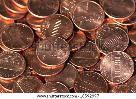 A Pile of Shiny New Pennies - stock photo