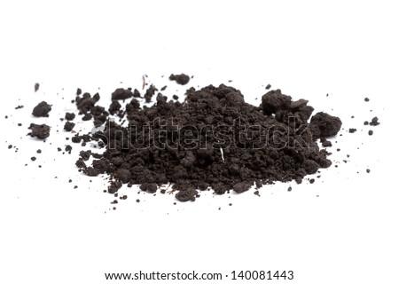 a pile of soil on white - stock photo
