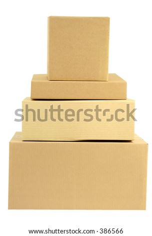 A pile of stacked closed boxes with workpath - stock photo
