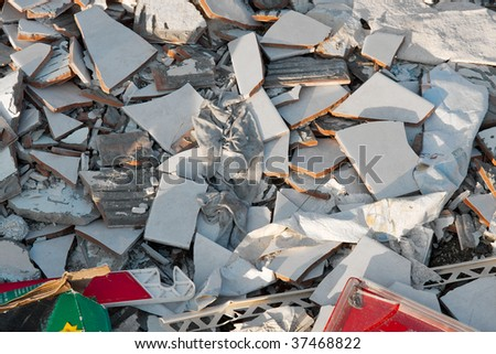 A pile of trash, various disposed, broken things - stock photo