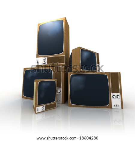 A pile of vintage televisions in different positions - stock photo