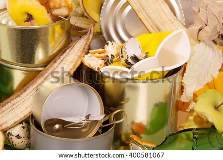 A pile of waste food and household closeup. Background. - stock photo