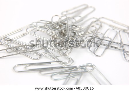 A pile of wire paper clips - stock photo