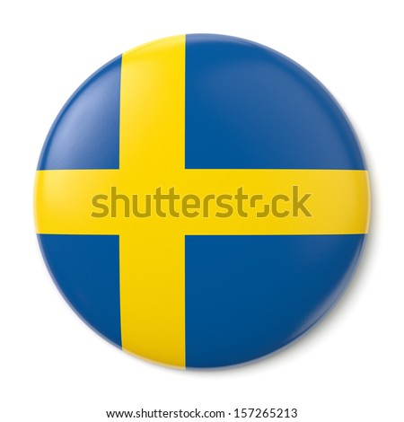 A pin button with the flag of the Kingdom of Sweden. Isolated on white background with clipping path. - stock photo