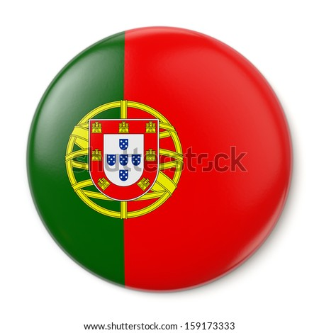 A pin button with the flag of the Portuguese Republic. Isolated on white background with clipping path. - stock photo