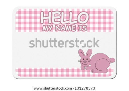 A pink gingham hello my name is tag isolated over white, Naming your baby girl - stock photo