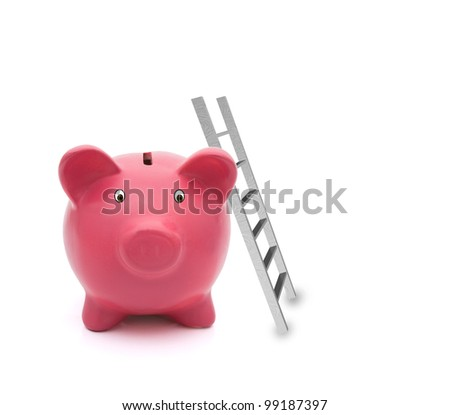 A pink piggy bank with a ladder isolated on white, Building your savings - stock photo