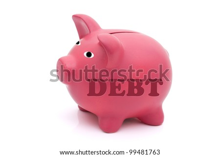A pink piggy bank with word debt on it isolated on white, Repaying your debt - stock photo