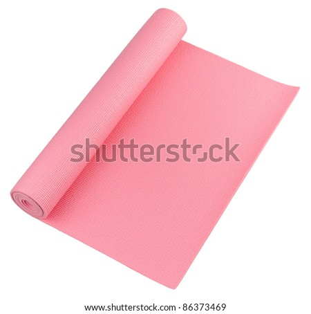 A pink yoga mat for your exercise - stock photo