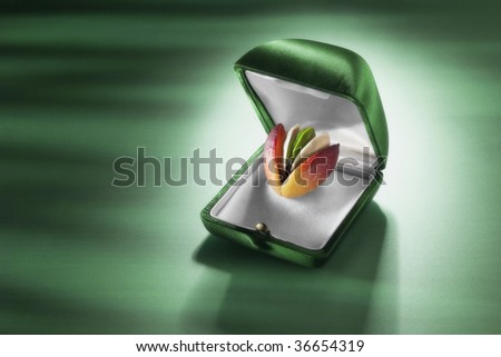 A pistachio with the peel and the shell in a jewel case - stock photo